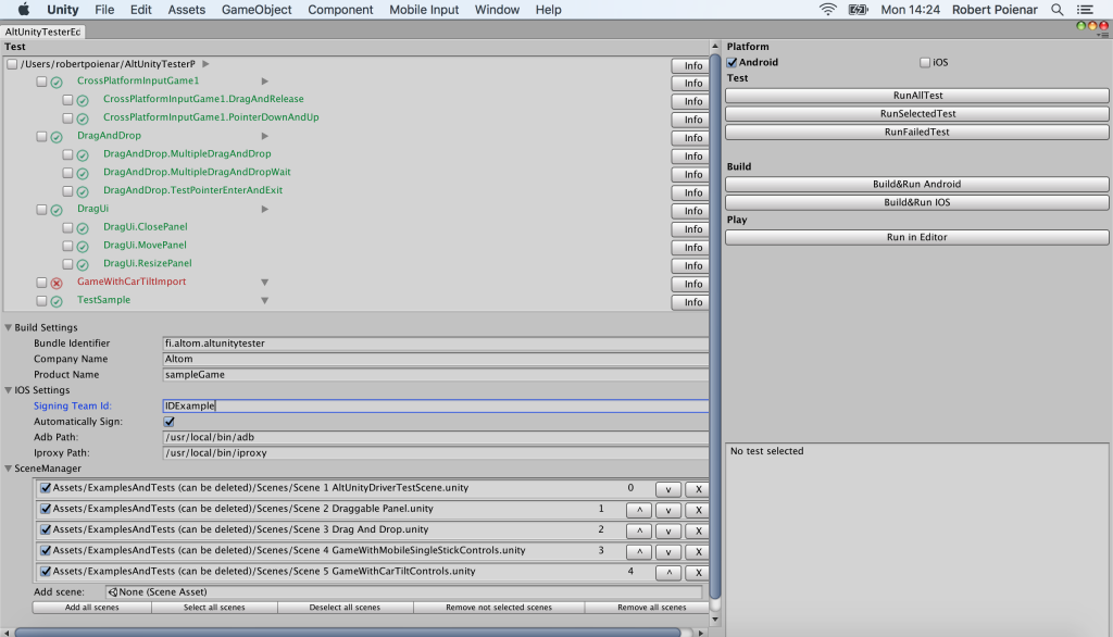 AltUnityTester Update - C# Editor Tests, More Actions and Java