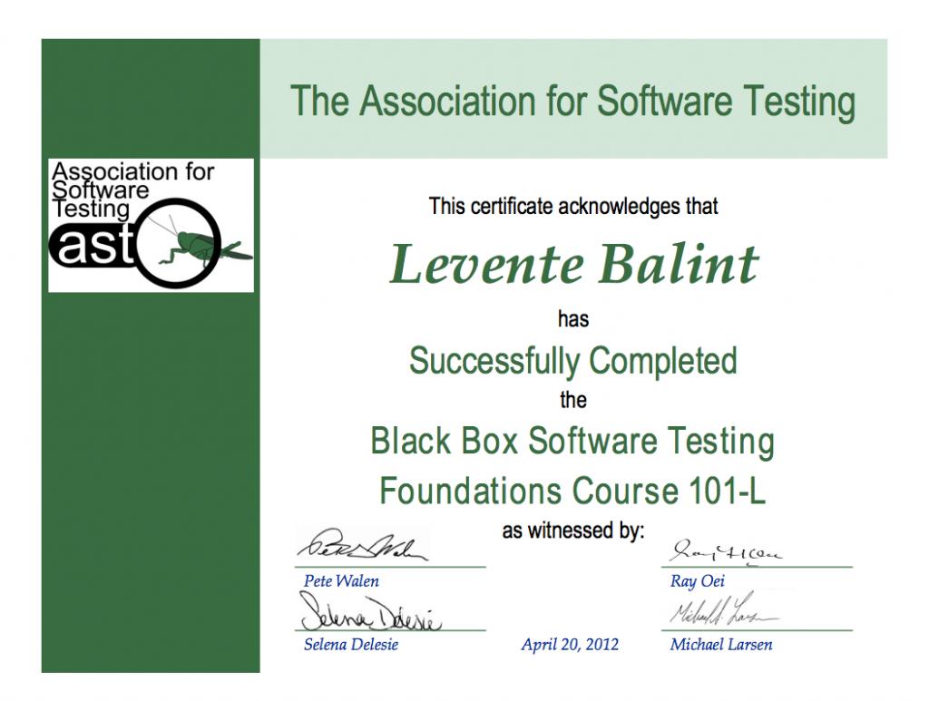 BBST certificate